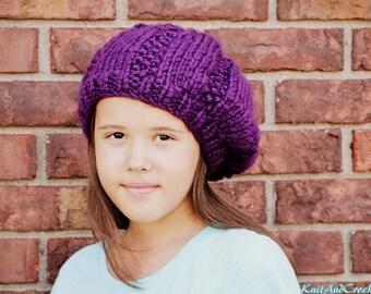 Teen Slouchy Beret Hat Purple