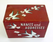 Vintage Address Tin Box 1960s Metal Name and Addresses Recipe Box with birds and letters Mayfair Company