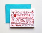 Birthday Celebration Letterpress Card, single