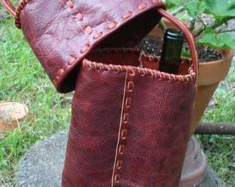 Wine Tote in Red Distressed Leather