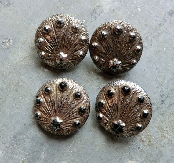 4 Silvery Luster Victorian Glass Buttons - Matching Set