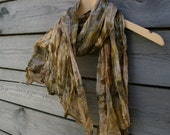 Silk scarf eco printed with plant dyes