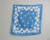 vintage ROYAL BLUE square scarf with white DAISY print.