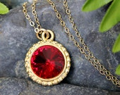 Siam Ruby Red Swarovski rivoli crystal & gold necklace - delicate14k gold filled chain - free shipping USA