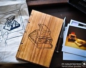 Letterpress Handmade Wooden Book with Polaroid SX-70 Camera Burned Engraving