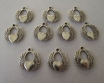 Hearts with Wings Charms- ten charms- antique silver charms