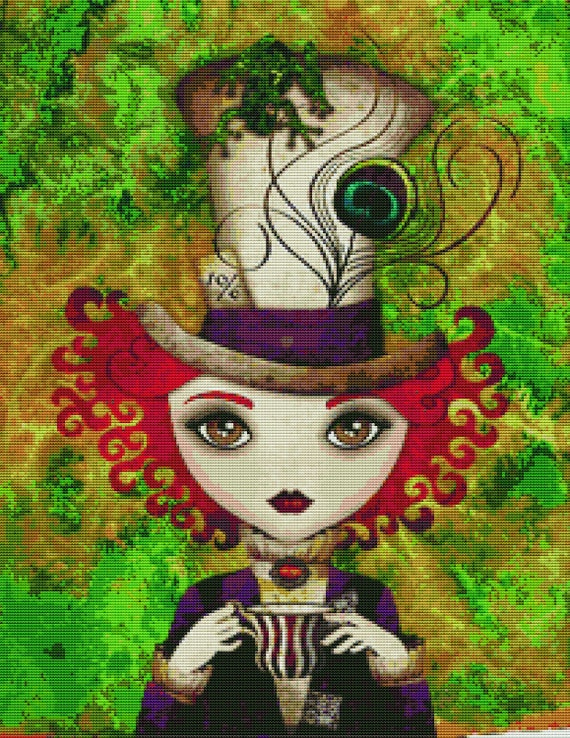 Cross stitch modern art by Sandra Vargas ' Lady Hatter' - Alice in Wonderland cross stitch kit