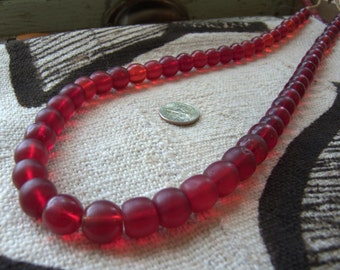 "Antique ""Cranberry"" Beads"