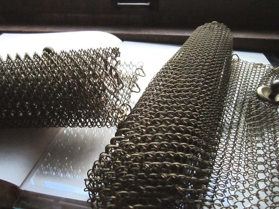 2 Vintage Chain Screens brass/steel w/ loops and knobs