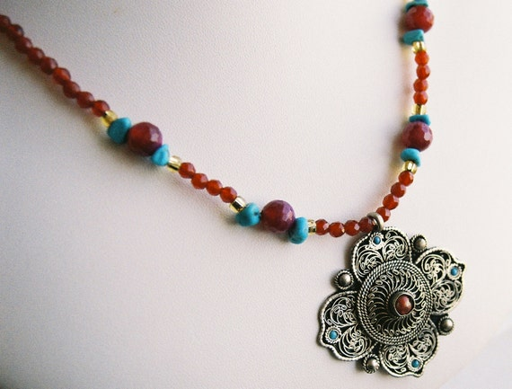 Necklace - Tibetan Inlay Brass Pendant, with Turquoise, Coral, Red Agate and Gold Glass Accents
