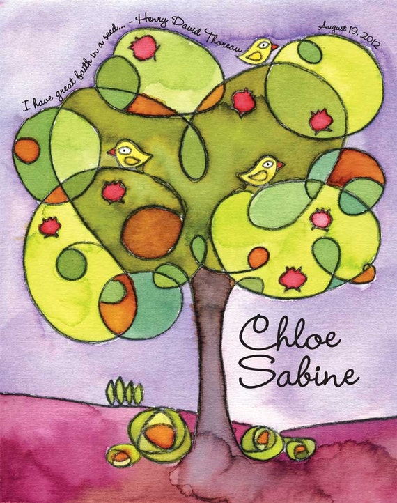 Tree Tops - watercolor personalized name print