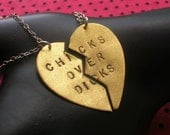 CHICKS OVER DICKS--Chicks Before Dicks, Best Bitches, Best Friends Charm Necklaces, Lesbian, Split Heart Necklace, Partners in Crime, lgbt