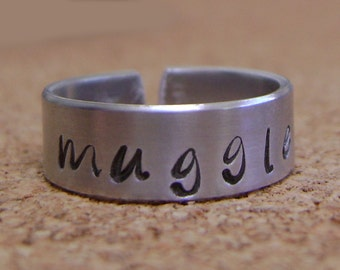 Harry Potter Inspired MUGGLE Hand Stamped Ring - Or - Stamp Whatever You'd Like