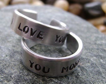 I Love You / I Love You More Rings - Hand Stamped Rings - All You Need Is Love