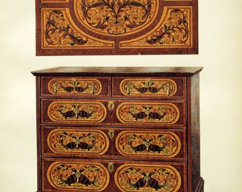 Vintage Print of Edwardian Furniture - Chest of Drawers w/ Marqueterie No. 2 - 1905 Chromolithograph on English Furniture - Home Decor