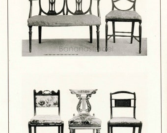 1900 Vintage Print of English Household Furniture. Settee and Five Chairs. Plate 68 - Black and White