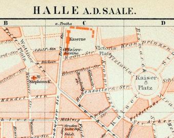 1895 Vintage Map of Halle an der Saale, Germany - Vintage City Map - Old City Map