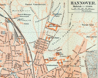 Antique Map of Hanover, Germany - 1895 Vintage German Map of Hannover