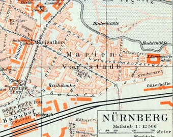 1895 German Antique City Map of Nuremberg (Small Version)