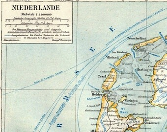 1895 German Antique Map of the Netherlands
