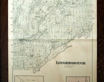 Large Antique Hand Coloured Map of Loughborough Township/South Frontenac, Ontario. From 1878 Atlas