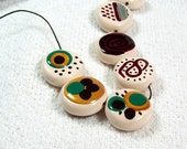 NOW ON SALE Reversible Handmade Polymer Clay Artisan Beads