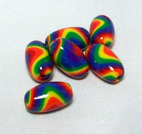 Polymer Clay Beads - Crayon Rainbow Colors in Striped Swirled Oval Handmade Beads