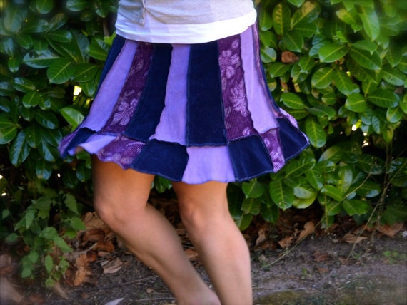 Purple & Blue Corduroy Women's Skirt Fall Fashion Upcycled Clothing Flared A-Line Gypsy Hippie Pixie Chic Small with Zipper