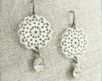 Antiqued brass cream filigree earrings with vintage 1950's rhinestones.  Shabby chic.  Bridal.  Bridesmaids.