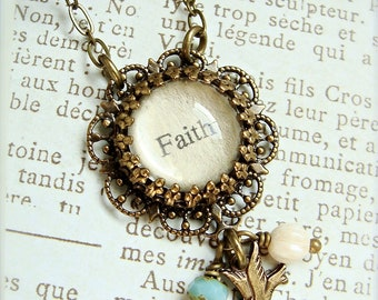 Faith.  Antique Brass Inspiration Charm Necklace.  Turquoise and cream beaded with bird charm.
