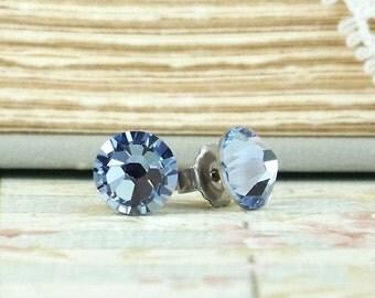 Light Blue Crystal Studs Blue Stud Earrings Light Blue Studs Crystal Stud Earrings Surgical Steel Studs