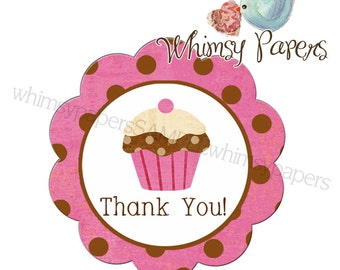 Cupcake Thank You stickers - 50 scalloped circle labels