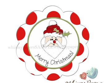 Santa Stickers, Merry Christmas Labels - set of 50
