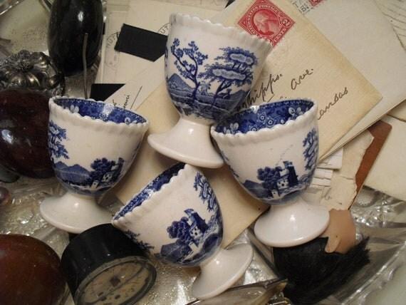 "Antique Spode ""Blue Tower"" Egg Cups"
