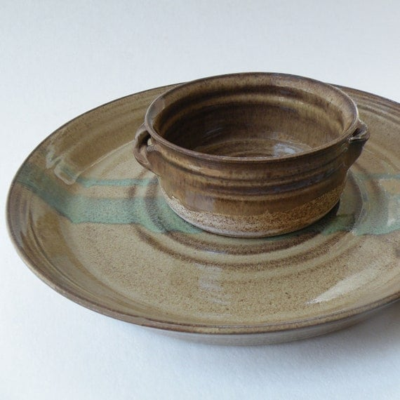 Appetizer Plate and Crock - Pottery Set of Two - Dish and Plate in Caramel Brown and Green