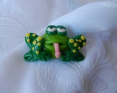 Pook's Cutest Ever Green and Yellow Polka Dotted Frog Brooch or Pendant