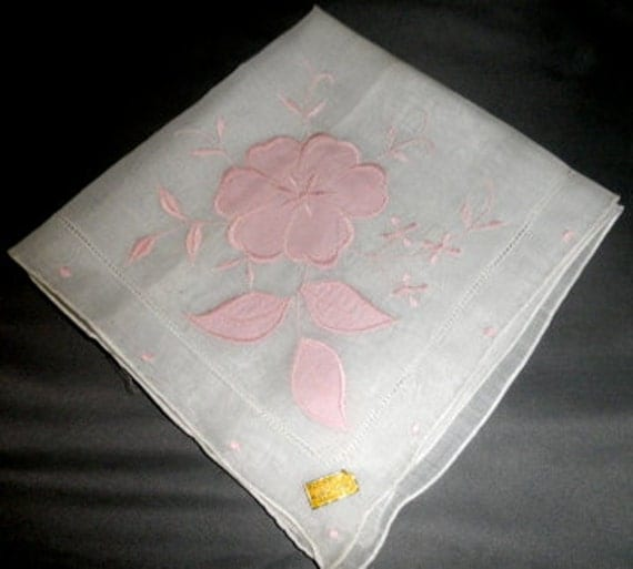 Vintage all cotton made in Hong Kong white with pink flower hankie