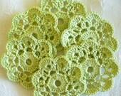 Green Crochet Appliques, Flowers, Mini Doilies - set of 10, Wasabi Green