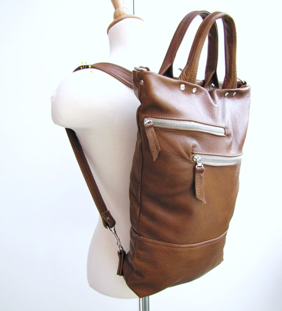 Tan leather unisex laptop bag convertible backpack and