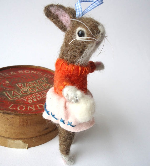 Reserved for babyollie96  Christmas in July Needle felted Decorative  Rabbit with Snowball