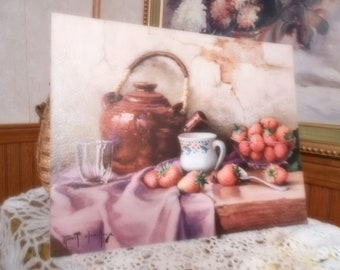 Still Life with Strawberries with Jug by Robert Chailloux--Lithograph