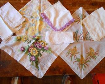 Eight beautiful vintage hankies Aloha and purple and yellow
