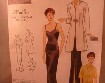 Vintage Vogue Model Dessin Original 1935 Dress Pattern Repro 2005 Uncut
