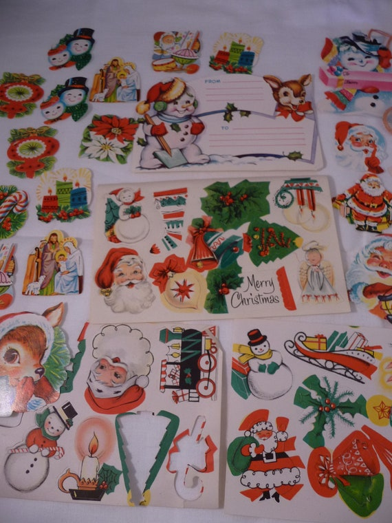 Fun and Adorable Large Lot of 50 Randam Vintage Christmas Seals and Tags