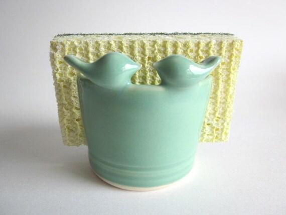 Reserved for August and Olivia's  Registry.. Lovebirds Mint green Sponge  Holder,  ceramic pottery