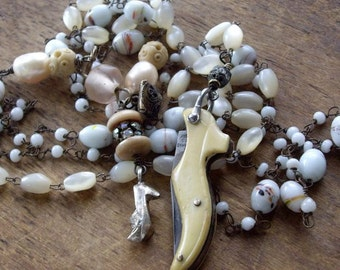 Antique Assemblage Multi Strand Necklace Mother of Pearl Antique Ladies Shoe Knife