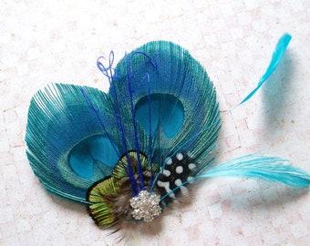 Peacock Feather Hair Clip WEDDING Bridal Fascinator TURQUOISE MALIBU bridesmaid piece