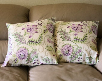 Floral Decorative Throw Pillows - Set of TWO Meadow Valley pillows byHeather Chamberlain, Flowers & Leaves, Pink, Mauve and Green, B2-2