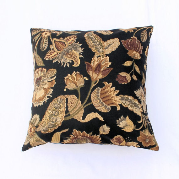 Decorator Throw Pillow - 18 inch Black and Taupe Botanical