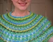 Lucite Green Knit Cowl Collar Shawl - Nefertiti / blue green mint